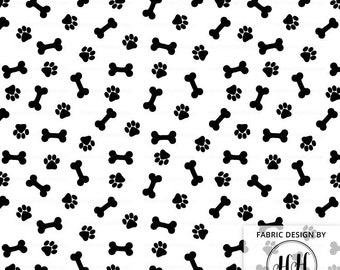 Paws and Bones Fabric By The Yard / Black and White Fabric / Monochrome Fabric / Modern Dog Fabric / Cute Puppy Print in Yards & Fat Quarter