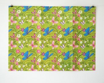 Vintage Gift Wrap - Retro Wrapping Paper - Butterflies and Flowers Wrapping Paper