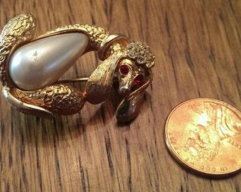 Vintage Rhinestone & Pearl Poodle Dog Brooch Lapel Pin