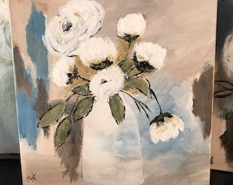SOLD-Baby White blossoms floral 8x8 Acrylic painting gallery wrapped canvas - See Item Details for painting another.