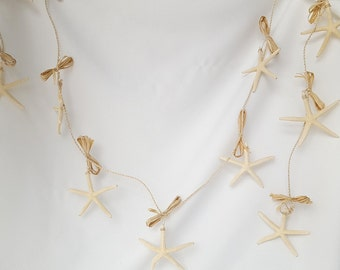 Beach Decor Garland, Nautical Decor Starfish Garland, Wrapphia Starfish Garland, White Starfish Garland, Coastal Decor Garland, Beach House