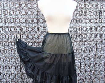 Vintage Sheer Black Two Layers Two Tiered Petticoat Half Slip Size M