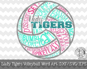 Volleyball-Word Art-Tigers File INSTANT DOWNLOAD in dxf/svg/eps for use with programs such as Silhouette Studio and Cricut Design Space