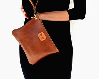 Leather brown clutch - purse