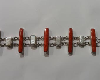 Sterling Silver, Coral and Pearl Bracelet