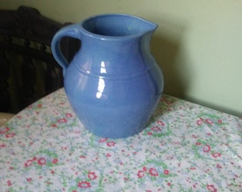 Antique Blue Glazed Stoneware Pitcher with Applied Handle