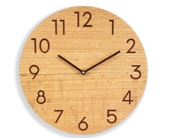Quartersawn red oak wall clock. Silent wall clock. Modern wall clock. 13 inch wall clock. Solid oak wood, engraved numbers.  CL5048