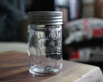 Set of 4 Crown Canning Mason Jar with Clear Glass and Zinc Lid (Made in Canada)