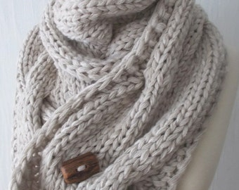 Chunky Scarf Handknit Big Cowl Extra Thick Cabled Soft  in Natural White Beige