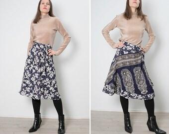 VTg Two Skirts In One,   navy white floral paisley print  reversible  Wrap Skirt/ elegant  silk skirt /S