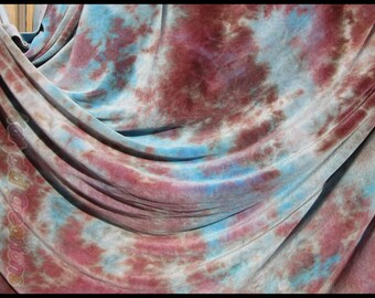 Hand Dyed Organic Bamboo Velour Blanket Milk Chocolate & Turquoise - Stadium Blanket - Throw