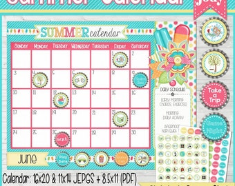 Summer ACTIVITY Calendar, Summer Boredom Buster, Summer Scheduler with Bottle Cap Magnet Images, Activity Icons - Printable Instant Download