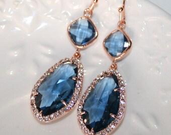 Navy Bridal Earrings,Valentines,Blue and Rose Gold Earrings,Crystal Sapphire Jewelry,Chandelier,Teardrop,Statement Wedding Bridal Jewellery