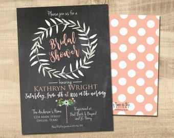 BRIDAL SHOWER INVITATION | Chalkboard | Watercolor Laurel Wreath