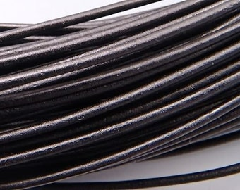 Greek 2mm Leather Cording Black 42040 (5 meters), Jewelry Cording, Necklace Cord, Bracelet Cording, 2mm Cording, 2mm Leather Cord, Stringing