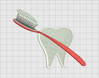 Tooth and Toothbrush Embroidery Design in 3x3 4x4 5x5 and 6x6 Sizes