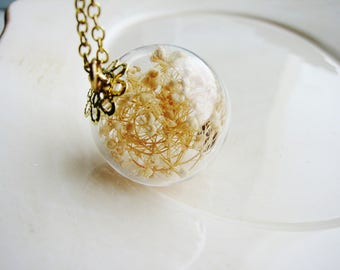 Baby's Breath Terrarium Necklace, Glass Globe Necklace, Terrarium Jewelry, Flowers Under Glass, Real Flower Necklace, Spring Jewelry