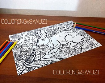 Rabbit Coloring Page, Bunny Coloring Page, Adult Coloring Page, Easter Bunny, Easter Rabbit, Coloring Page, Zentangle Coloring Page, rabbit
