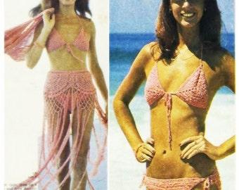 Crochet BIKINI Pattern Vintage 70s Crochet Sarong Skirt Pattern Crochet Top Pattern Crochet Bag Pattern Crochet beach skirt pattern