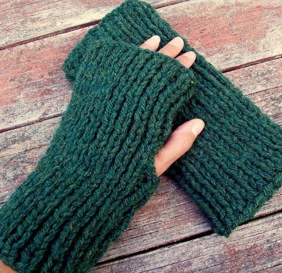Mens Fingerless Gloves Knitting Pattern Chunky Yarn Gift For