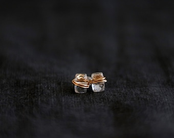 Crystal quartz studs, white bar earrings, dainty jewelry Baguette VitrineDesigns Under 75