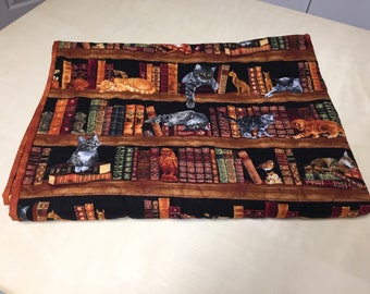 Cats and Books Cats in the library , Timeless Treasures  Lap or Wheelchair quilt