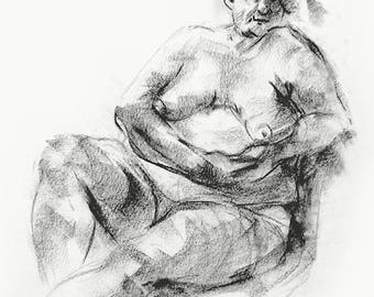 Original Charcoal Drawing Of A Curvy Woman, Size A3, Framed,  With Passepartout