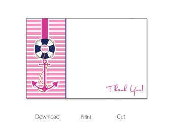 Nautical Sailing Girl Baby Shower | Thank You Cards | Instant Download |  BSI193TY