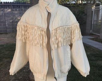 80s 90s cream silk fringe quilted jacket Medium