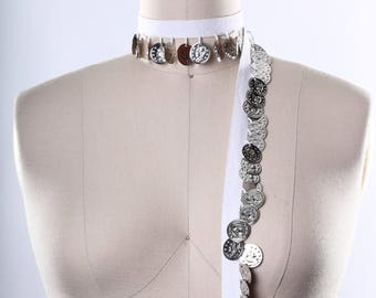 White with Silver Coin Trim/ Coin Fringe Trim/ Belly Dancer Trimming/ 100% Cotton Twill Tape with Dime Sized Coins/ Silver Coin Trim