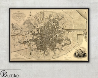 Vintage Dublin city map, Framed and ready to hang, 041