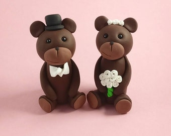 Brown Bear Wedding Cake Topper