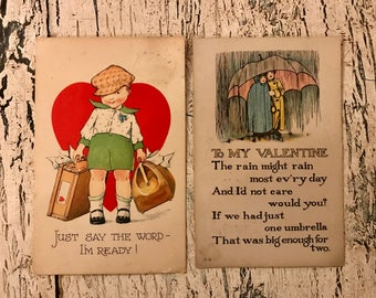 Vintage 1920s Valentine's Day Postcards - Set of 2 for Scrapbooking or Collecting