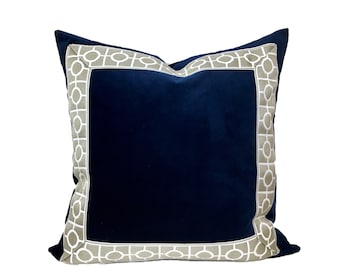 Navy Velvet Pillow Cover with Circle Trim