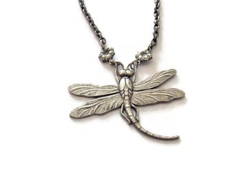 Vintage Silver Dragonfly Necklace 15 inches