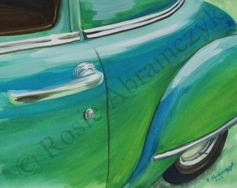 1951 Plymouth Belvedere, Gouache Painting, Art Print (by Rosie Abramczyk) SALE!