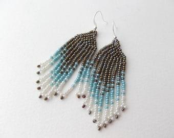 Beaded Fringe Dangle Earrings, Silver Earrings, Seed bead Bead woven, Olive green, Turquoise and Cream, unique long drop earrings.