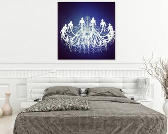 Black and White Prints | Black and White Wall Art | Glam Decor Wall Art | Chandelier Wall Art Print Photography | Large Wall Art Romantic