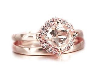 18K Rose Gold Morganite Ring Set, Bridal Set Vintage Floral Morganite Engagement Ring & Diamond Wedding Band, Bridal Set, Wedding ring Set