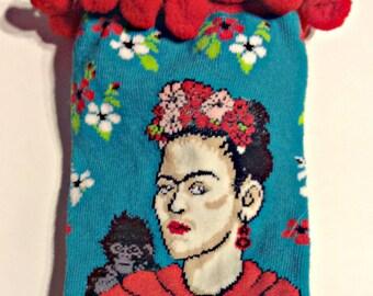 Art Socks,Frida Kahlo,Artsy Mexico Parody,Cinco de Mayo Pom Pom Socks,Self-Portrait,Art Teacher,Frida Kahlo clothing, Gift for Women