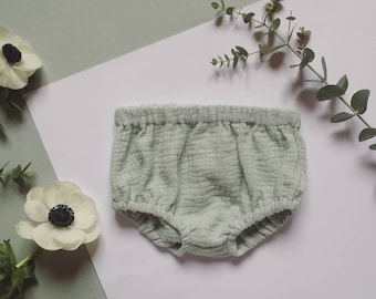 Bloomers baby bloomers green double gauze of water handmade to order