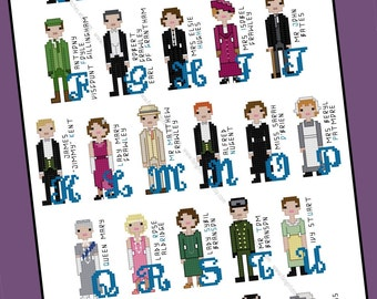 Downton Abbey inspired Character Alphabet Cross Stitch pattern - PDF Pattern - INSTANT DOWNLOAD