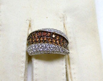 SALE -Take 20% Off- Plus Size ADI Thai 925 Sterling CZ and Topaz Ring- Free Shipping