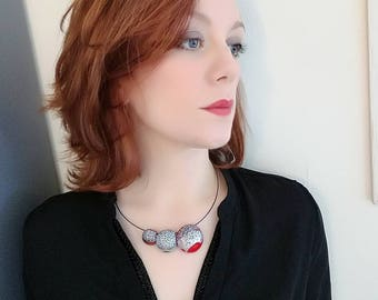 red and silver necklace with pendant, polymer clay choker necklace