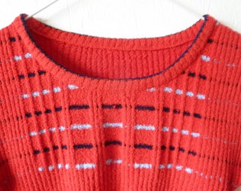 60s striped vintage top red/baby blue/navy blue stretchable