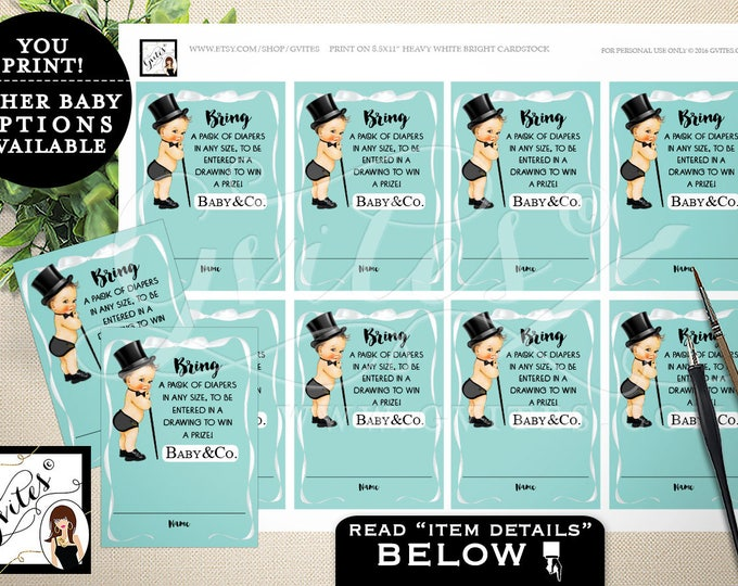 """Diaper Raffle Ticket, baby and co baby boy, diaper raffle tickets,  blue themed printables, bring a pack of diapers. 2.5x3.5"""" PRINTABLE"""