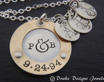 Family initials Mothers Necklace. gift for wife Personalized Mother's jewelry. custom hand stamped gift for mom