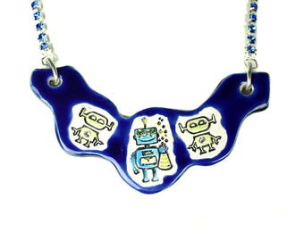 Robot Sparkle Surly Ceramic Necklace with Blue Rhinestone Chain in Blue