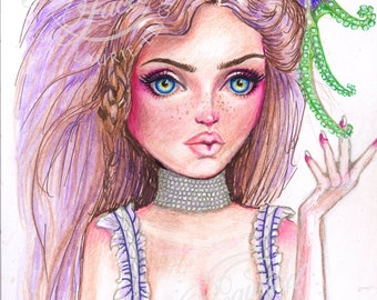 Liliana Victorian Surreal Illustration Girl with Octopus Pet PRINT