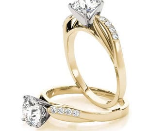 Forever Brilliant Moissanite Cathedral Leaf Diamond Engagement Ring in Yellow Gold